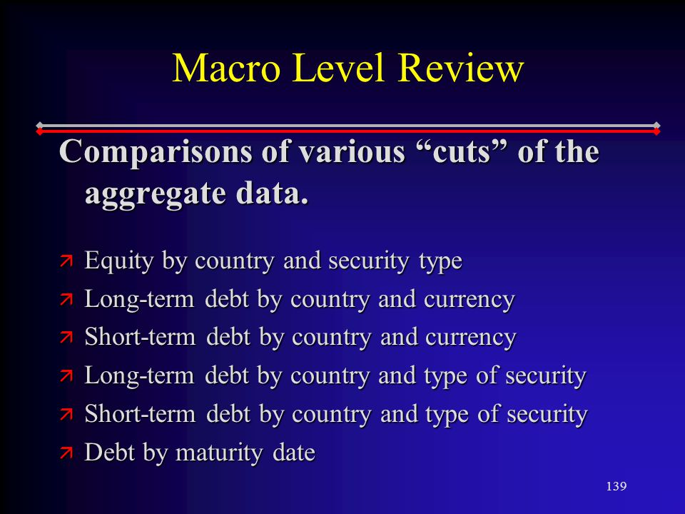 139 Macro Level Review Comparisons of various cuts of the aggregate data.