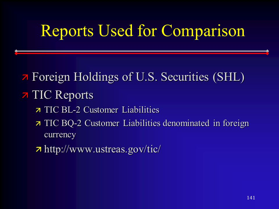 141 Reports Used for Comparison ä Foreign Holdings of U.S.
