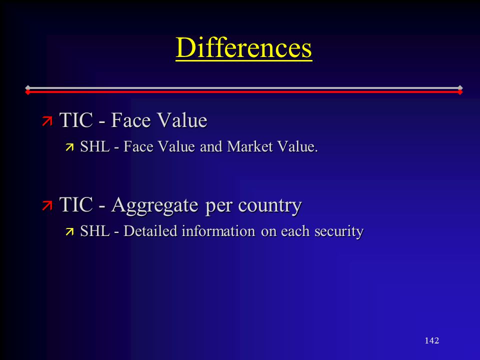 142 Differences ä TIC - Face Value ä SHL - Face Value and Market Value.