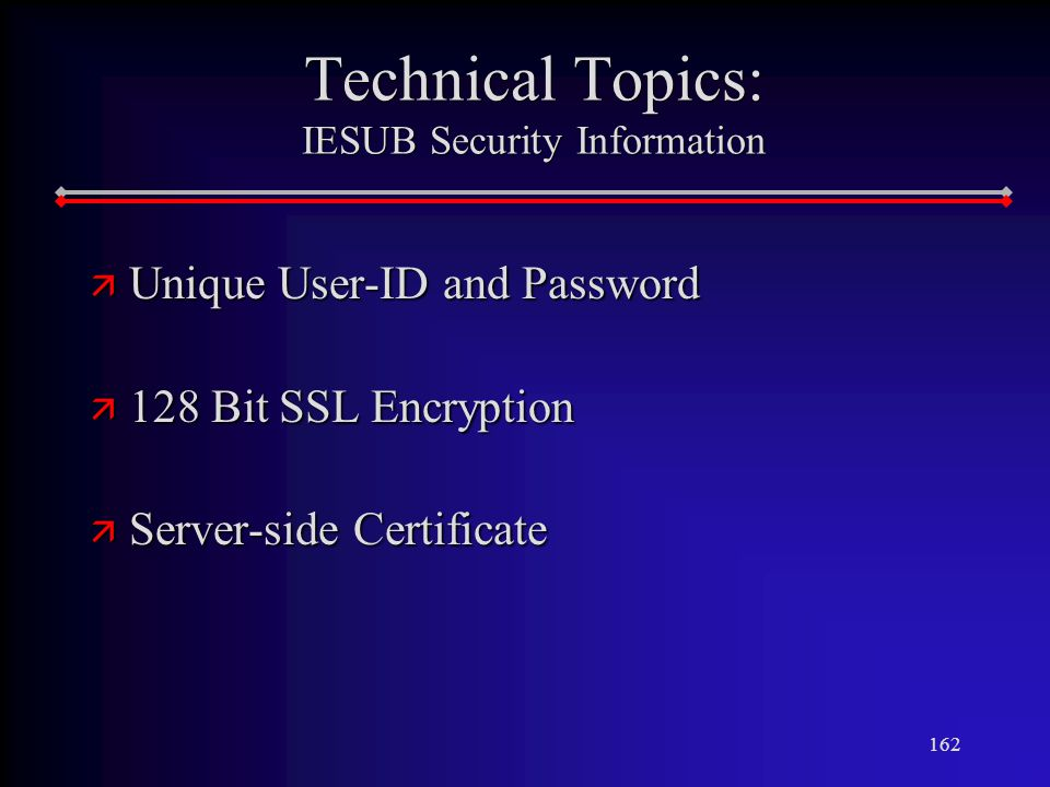 162 Technical Topics: IESUB Security Information ä Unique User-ID and Password ä 128 Bit SSL Encryption ä Server-side Certificate