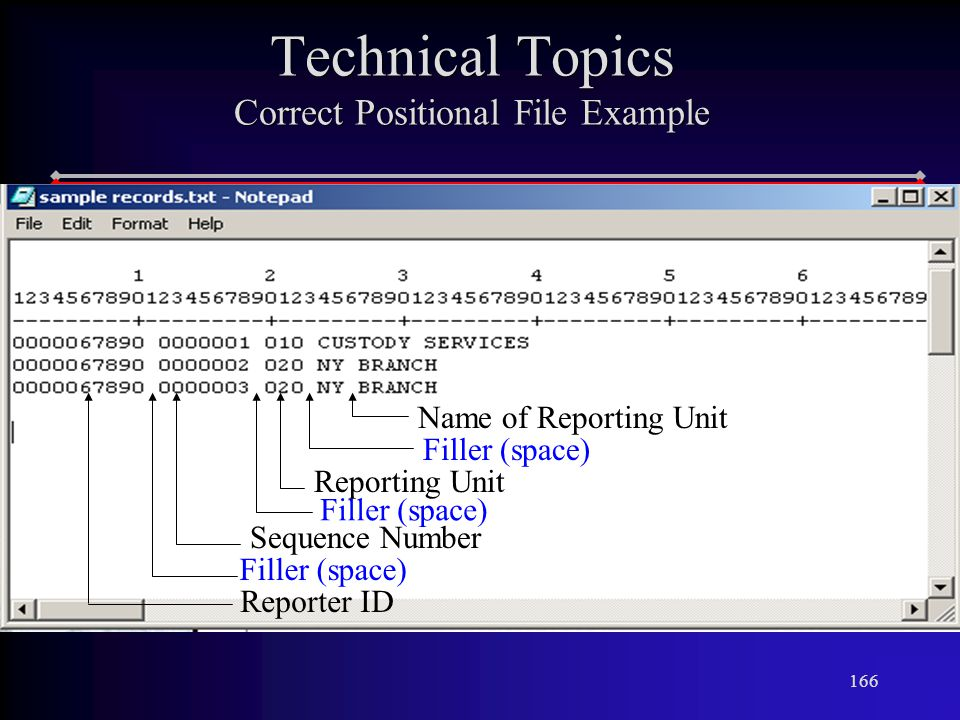 166 Technical Topics Correct Positional File Example Filler (space) Sequence Number Filler (space) Reporting Unit Filler (space) Name of Reporting Unit Reporter ID