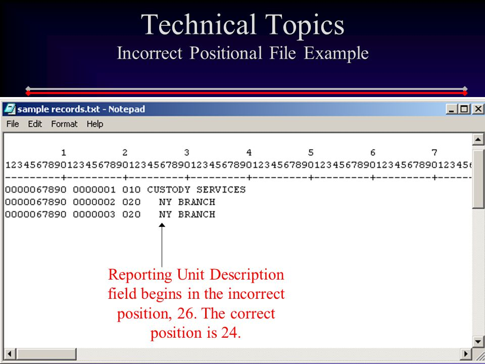 169 Technical Topics Incorrect Positional File Example Reporting Unit Description field begins in the incorrect position, 26.