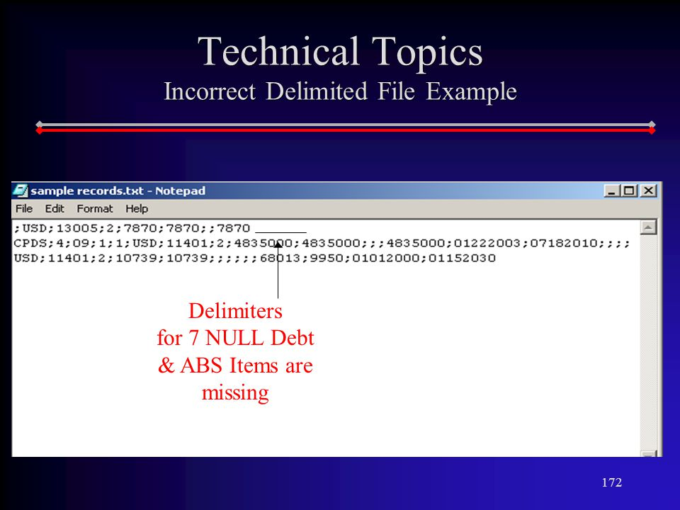 172 Technical Topics Incorrect Delimited File Example Delimiters for 7 NULL Debt & ABS Items are missing