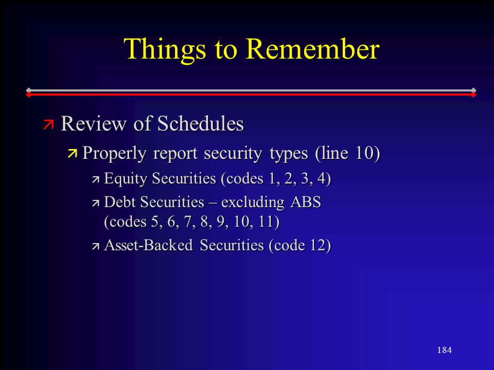184 Things to Remember ä Review of Schedules ä Properly report security types (line 10) ä Equity Securities (codes 1, 2, 3, 4) ä Debt Securities – excluding ABS (codes 5, 6, 7, 8, 9, 10, 11) ä Asset-Backed Securities (code 12)