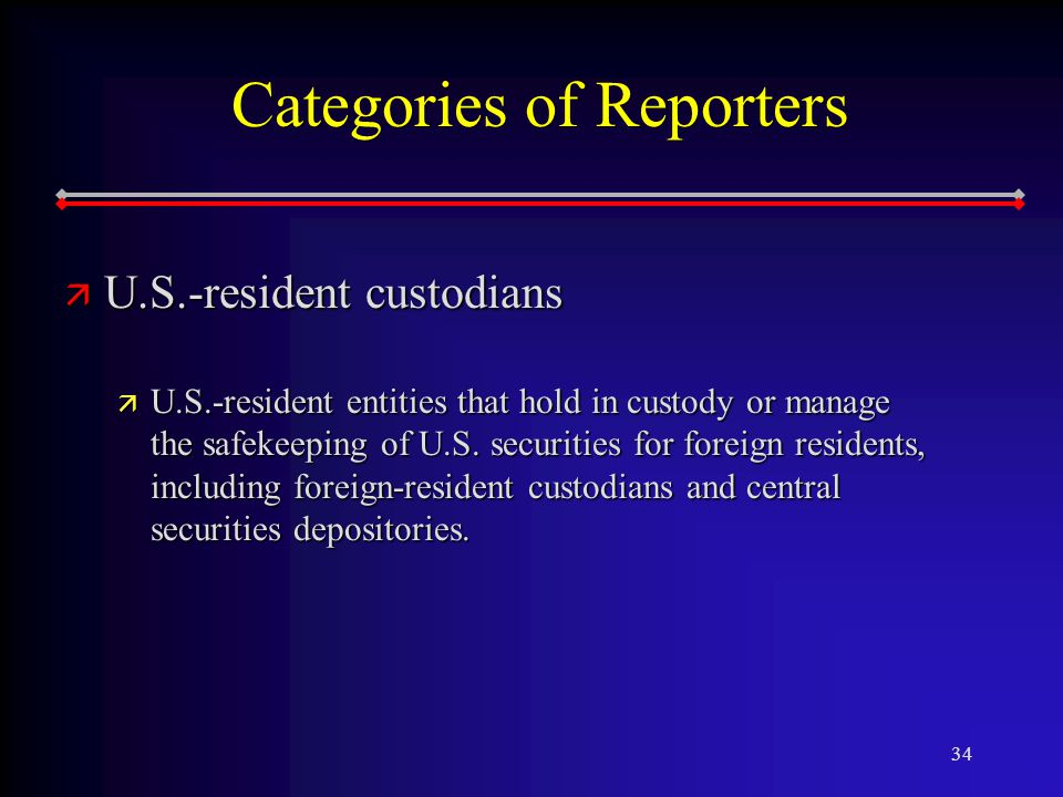 34 Categories of Reporters ä U.S.-resident custodians ä U.S.-resident entities that hold in custody or manage the safekeeping of U.S.