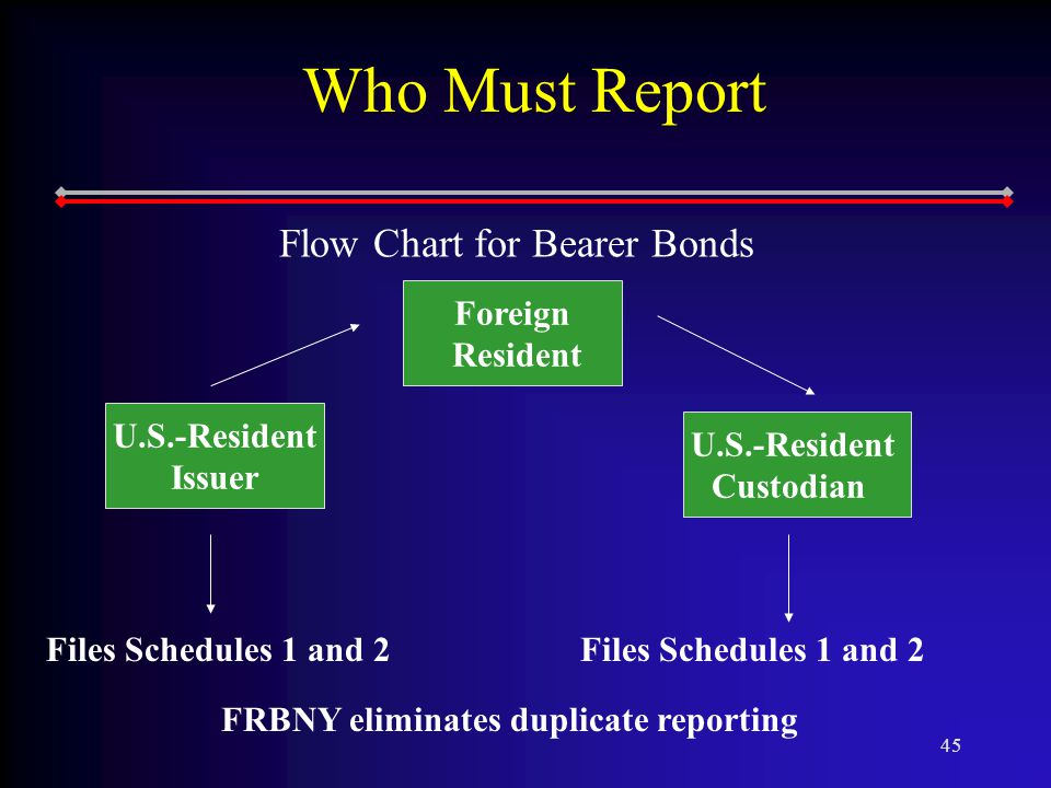 45 Who Must Report Flow Chart for Bearer Bonds Foreign Resident U.S.-Resident Custodian U.S.-Resident Issuer Files Schedules 1 and 2 FRBNY eliminates duplicate reporting Files Schedules 1 and 2
