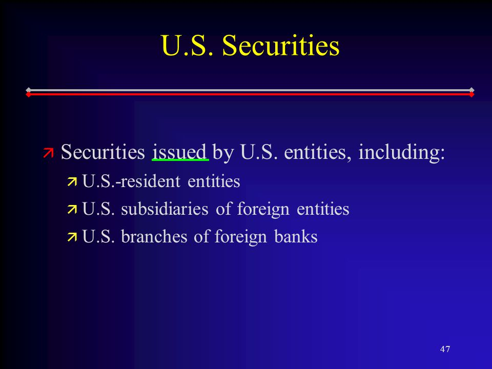 47 U.S. Securities ä ä Securities issued by U.S.