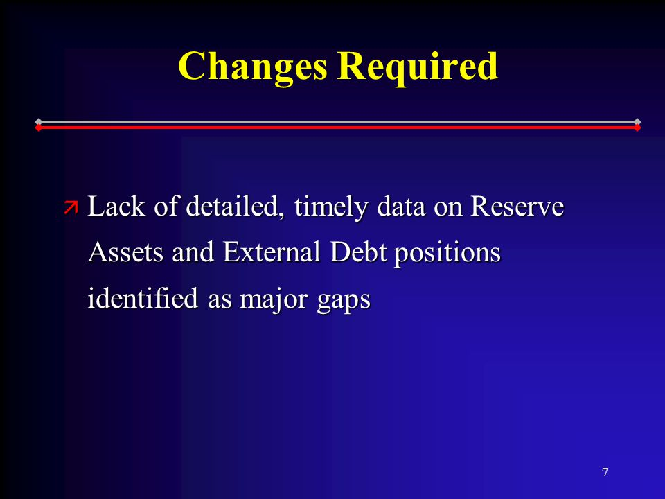 7 Changes Required ä Lack of detailed, timely data on Reserve Assets and External Debt positions identified as major gaps