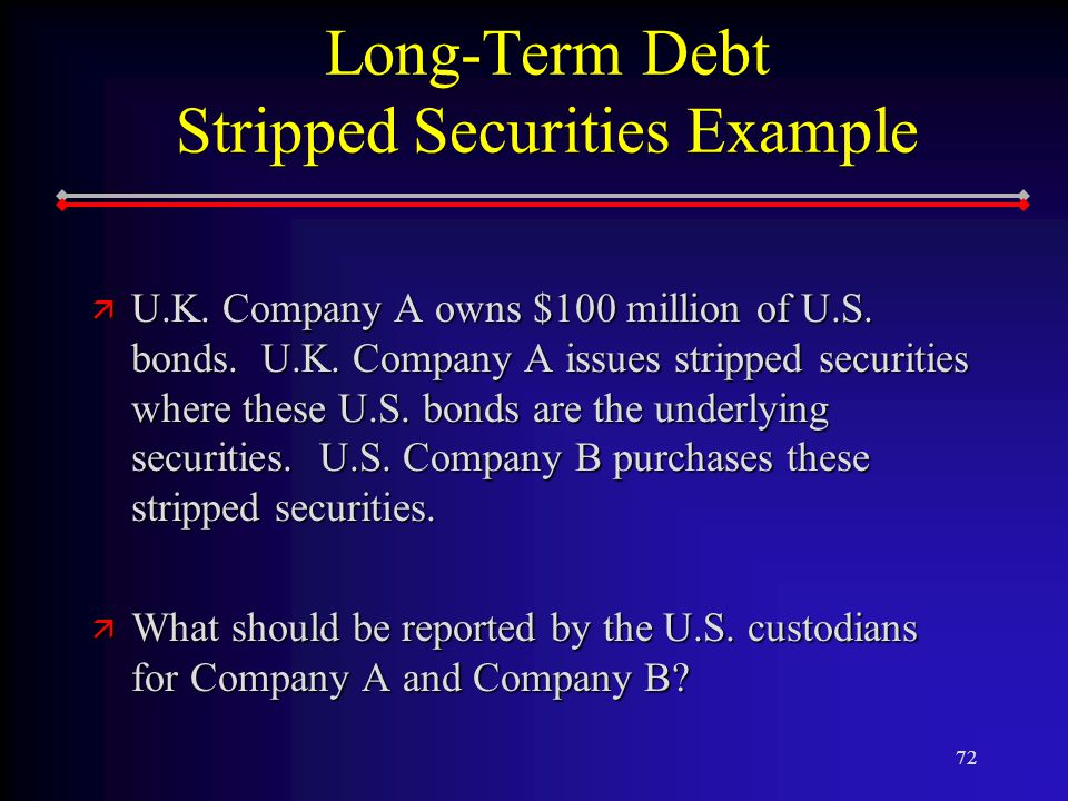 72 Long-Term Debt Stripped Securities Example ä U.K.