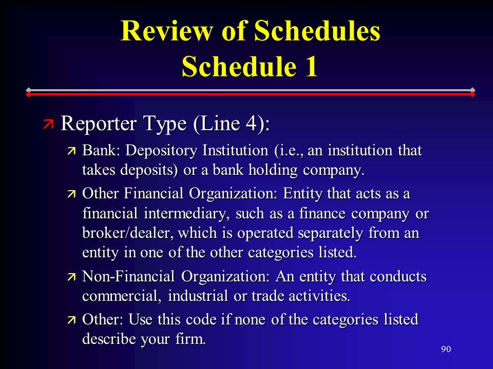 90 Review of Schedules Schedule 1 ä Reporter Type (Line 4): ä Bank: Depository Institution (i.e., an institution that takes deposits) or a bank holding company.