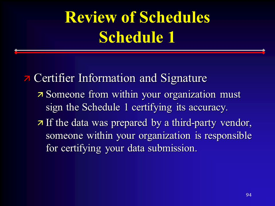 94 Review of Schedules Schedule 1 ä Certifier Information and Signature ä Someone from within your organization must sign the Schedule 1 certifying its accuracy.