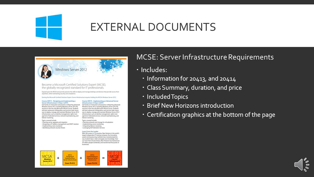 EXTERNAL DOCUMENTS MCSA: Windows Server 2012 Requirements  Includes:  Information for 20410, 20411, and 20412  Class Summary, duration, and price  Included Topics  Brief New Horizons introduction  Certification graphics at the bottom of the page