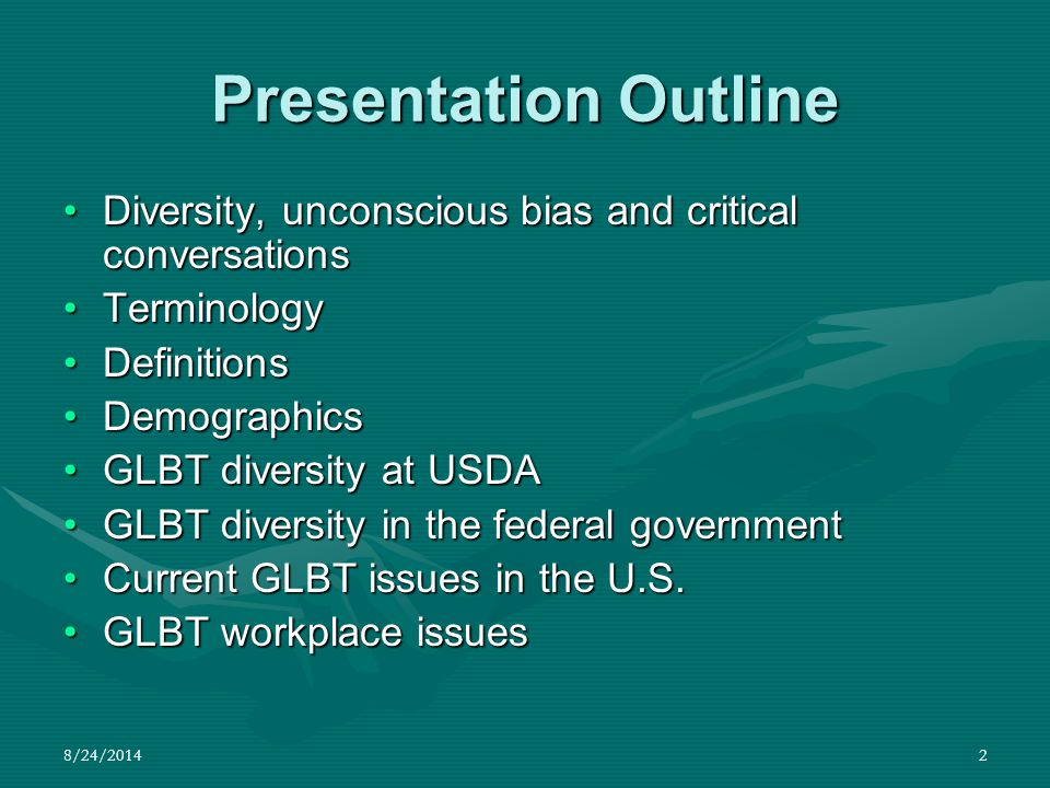 8/24/201413 Terminology TranssexualsTranssexuals –May choose social, medical and legal steps that will help them achieve the greatest level of comfort with their gender identity and body.