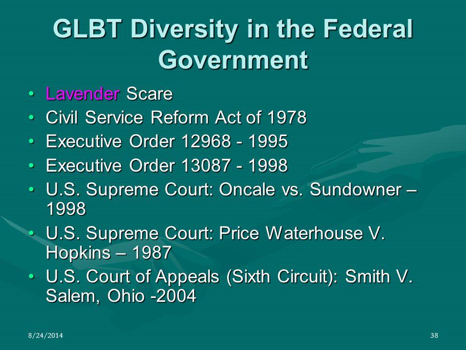 8/24/201438 GLBT Diversity in the Federal Government Lavender ScareLavender Scare Civil Service Reform Act of 1978Civil Service Reform Act of 1978 Exe