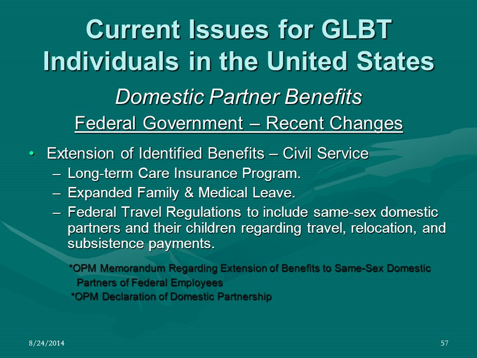 8/24/201457 Current Issues for GLBT Individuals in the United States Domestic Partner Benefits Federal Government – Recent Changes Extension of Identi