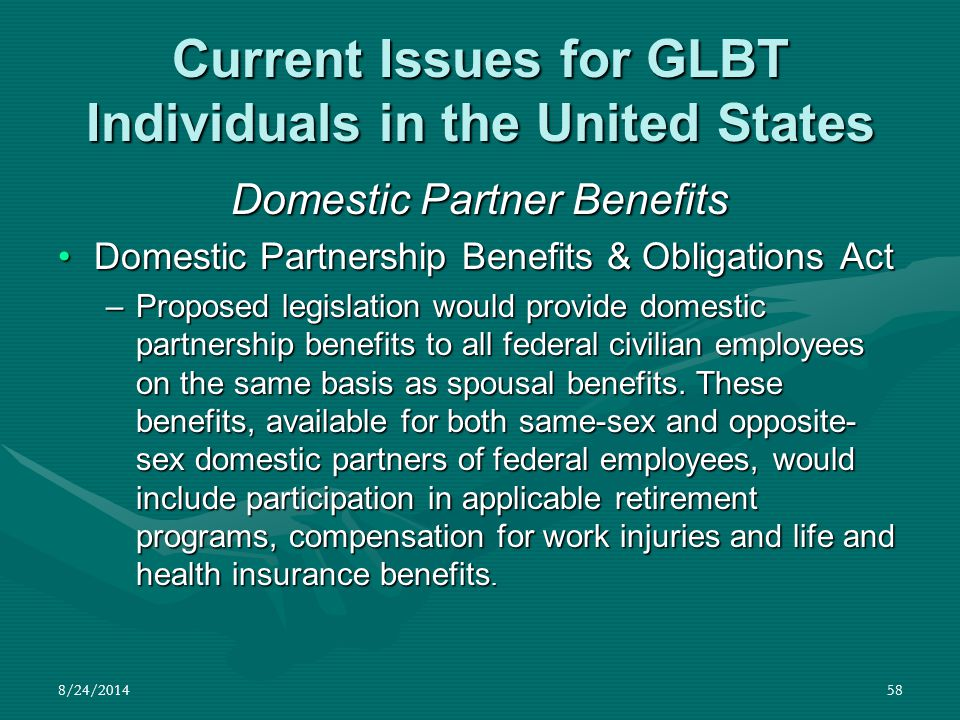 8/24/201458 Current Issues for GLBT Individuals in the United States Domestic Partner Benefits Domestic Partnership Benefits & Obligations ActDomestic