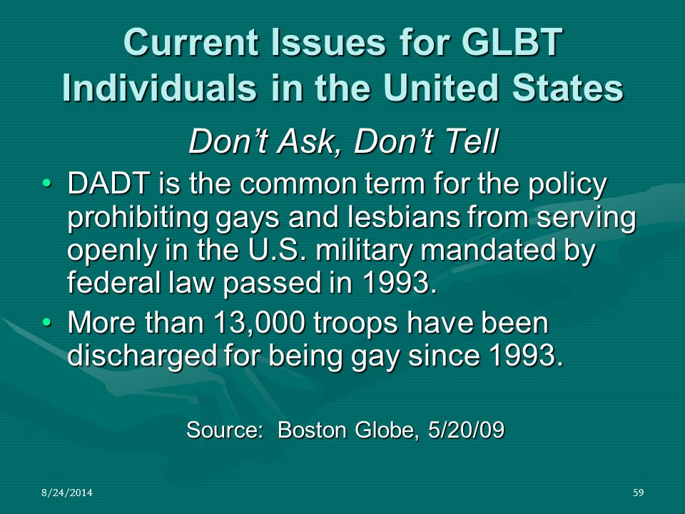 8/24/201459 Current Issues for GLBT Individuals in the United States Don't Ask, Don't Tell DADT is the common term for the policy prohibiting gays and