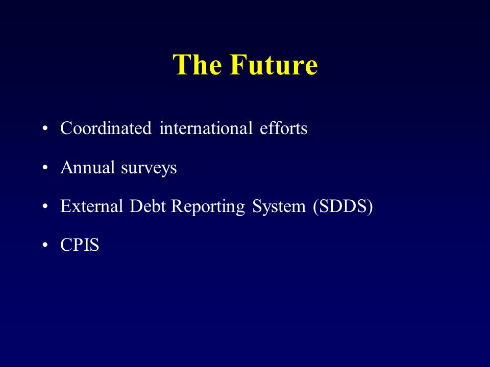 The Future Coordinated international efforts Annual surveys External Debt Reporting System (SDDS) CPIS