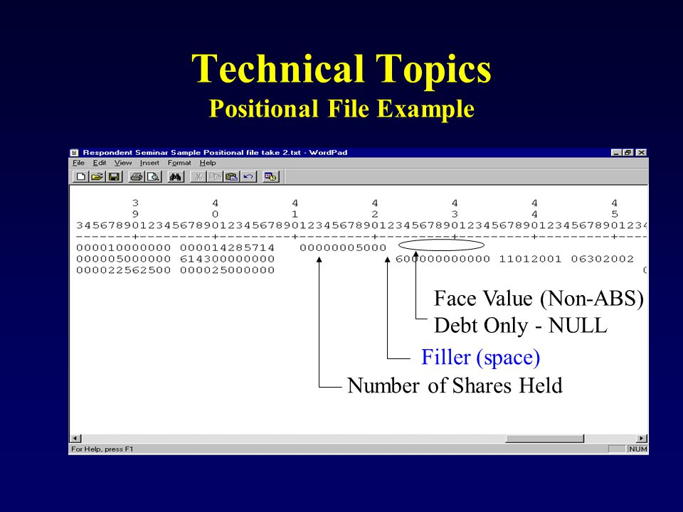 Technical Topics Positional File Example Number of Shares Held Filler (space) Face Value (Non-ABS) Debt Only - NULL