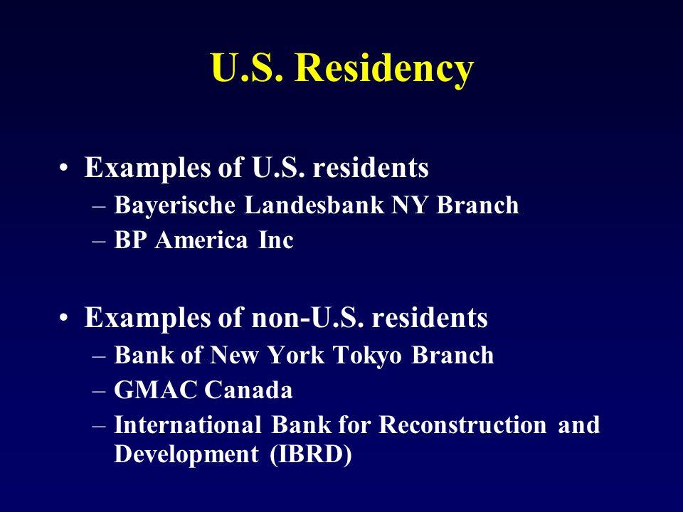 U.S. Residency Examples of U.S.