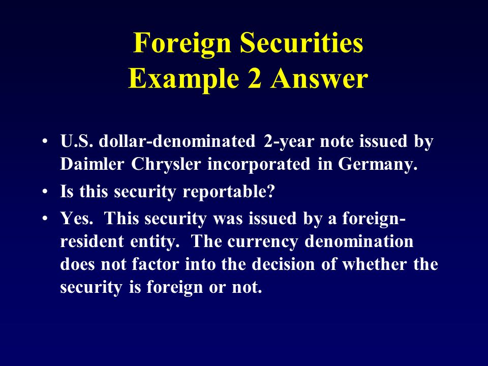 Foreign Securities Example 2 Answer U.S.