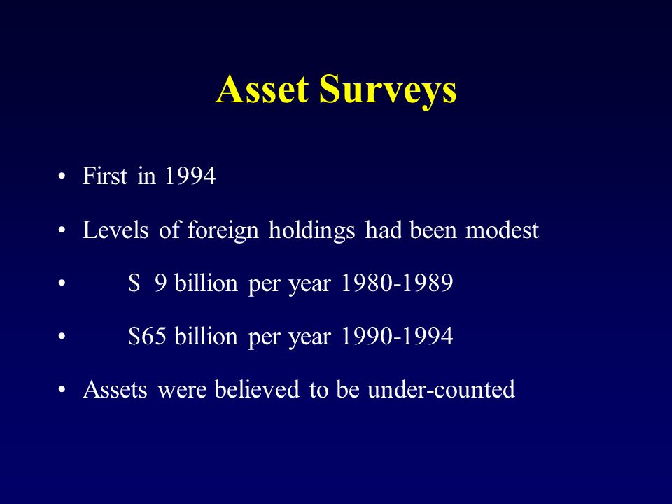 Asset Surveys First in 1994 Levels of foreign holdings had been modest $ 9 billion per year 1980-1989 $65 billion per year 1990-1994 Assets were believed to be under-counted
