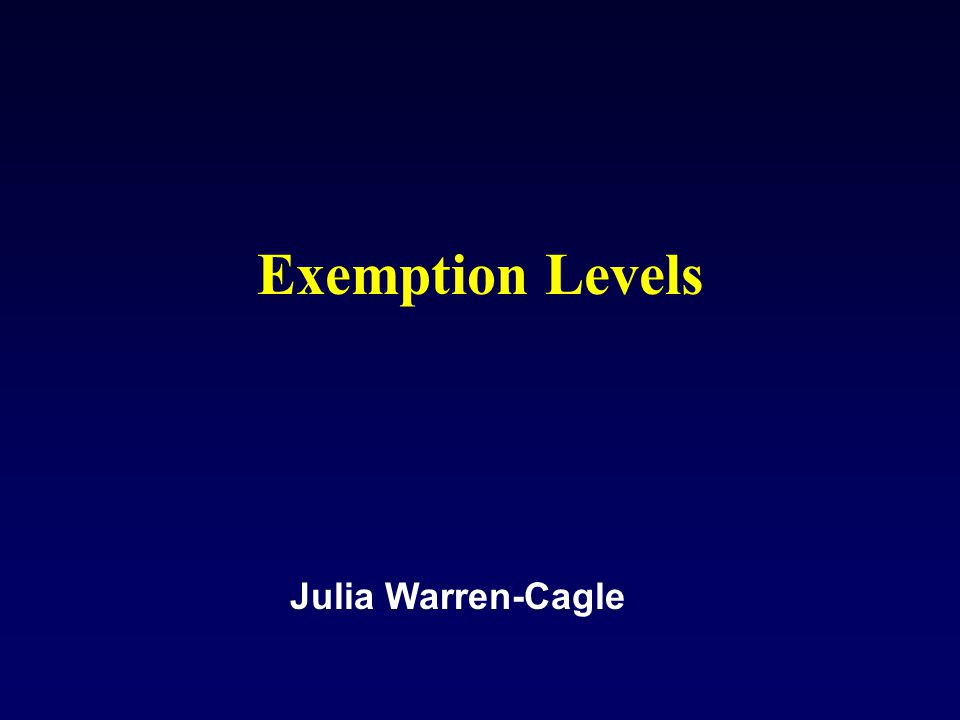 Exemption Levels Julia Warren-Cagle