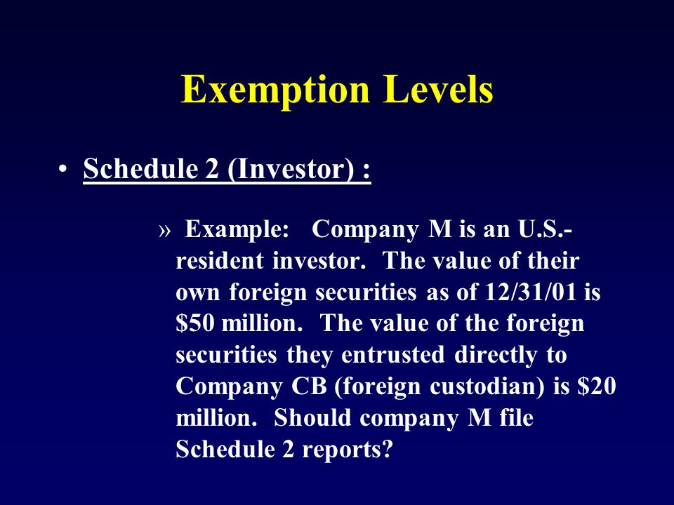 Exemption Levels Schedule 2 (Investor) : »Example: Company M is an U.S.- resident investor.