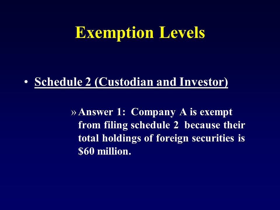 Exemption Levels Schedule 2 (Custodian and Investor) »Answer 1: Company A is exempt from filing schedule 2 because their total holdings of foreign securities is $60 million.