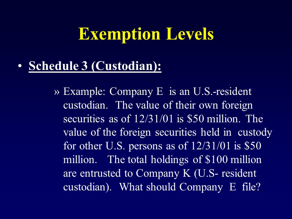 Exemption Levels Schedule 3 (Custodian): »Example: Company E is an U.S.-resident custodian.