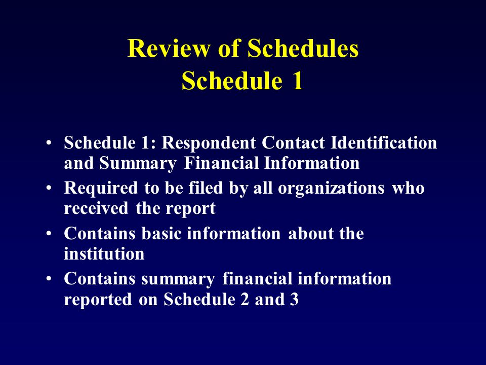 Review of Schedules Schedule 1 Schedule 1: Respondent Contact Identification and Summary Financial Information Required to be filed by all organizations who received the report Contains basic information about the institution Contains summary financial information reported on Schedule 2 and 3