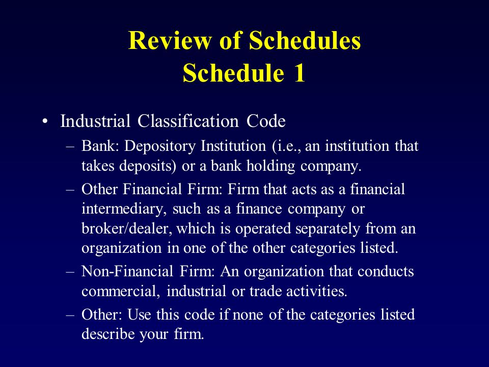 Review of Schedules Schedule 1 Industrial Classification Code –Bank: Depository Institution (i.e., an institution that takes deposits) or a bank holding company.