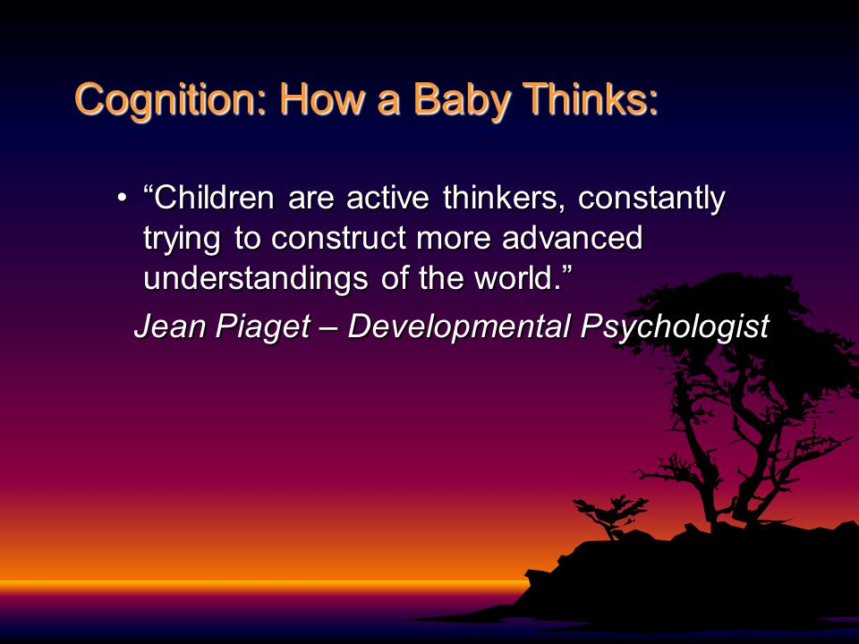 "Cognition: How a Baby Thinks: ""Children are active thinkers, constantly trying to construct more advanced understandings of the world.""""Children are a"