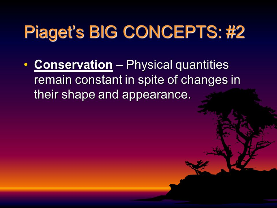 Piaget's BIG CONCEPTS: #2 Conservation – Physical quantities remain constant in spite of changes in their shape and appearance.Conservation – Physical