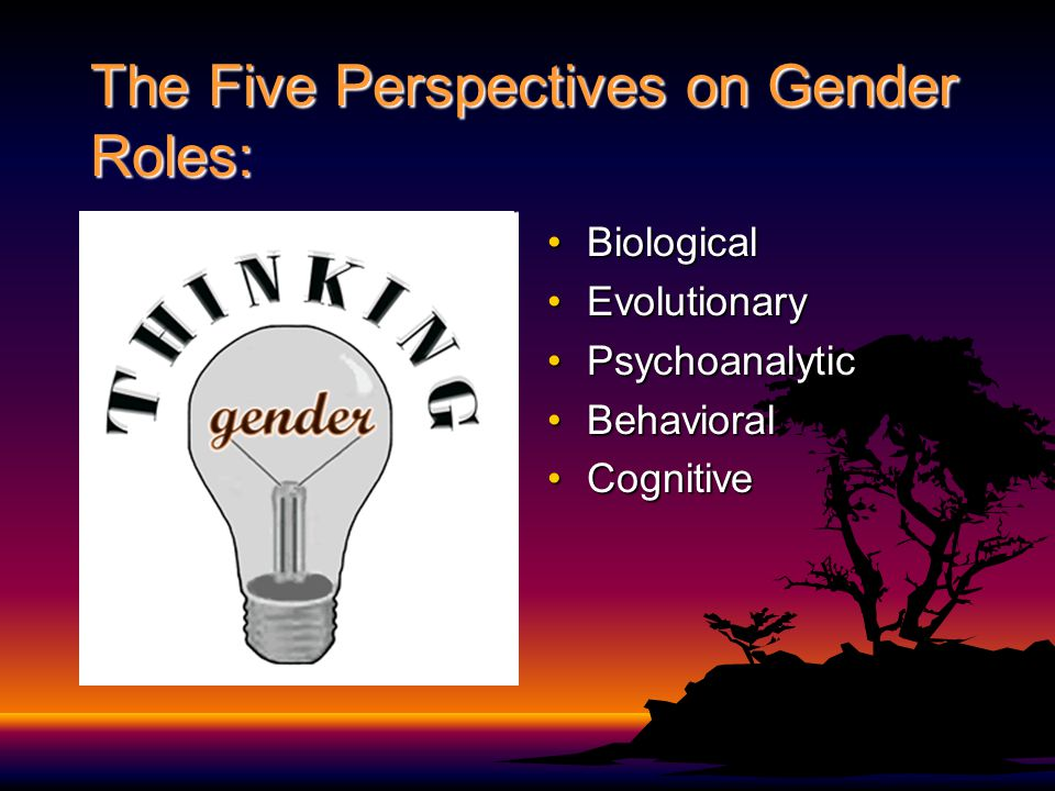 The Five Perspectives on Gender Roles: BiologicalBiological EvolutionaryEvolutionary PsychoanalyticPsychoanalytic BehavioralBehavioral CognitiveCognit