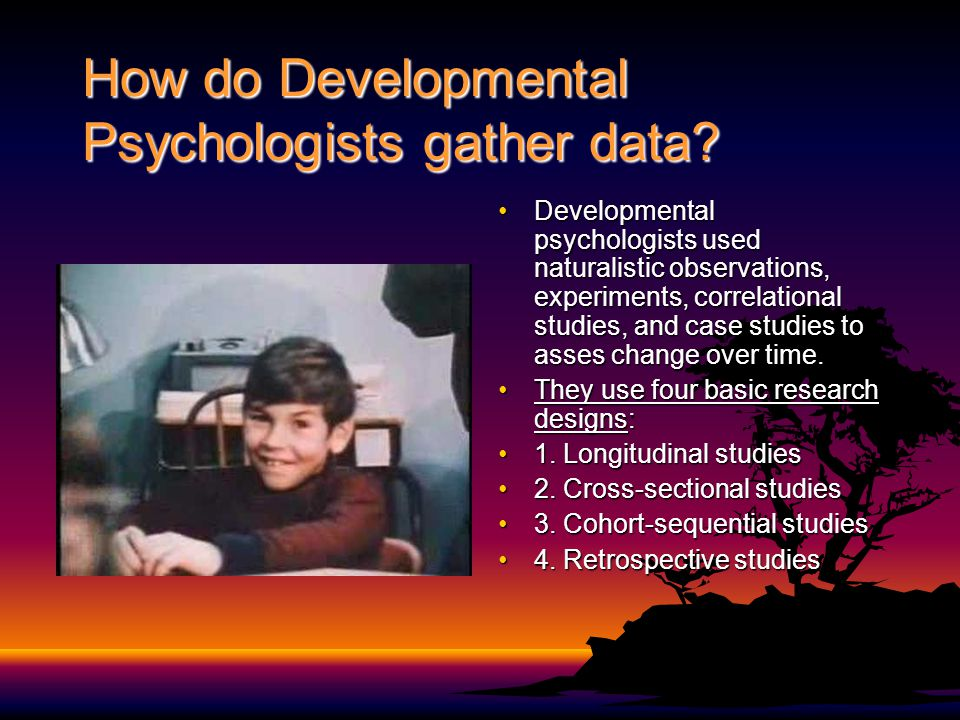 How do Developmental Psychologists gather data? Developmental psychologists used naturalistic observations, experiments, correlational studies, and ca
