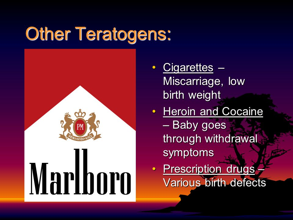Other Teratogens: Cigarettes – Miscarriage, low birth weightCigarettes – Miscarriage, low birth weight Heroin and Cocaine – Baby goes through withdraw