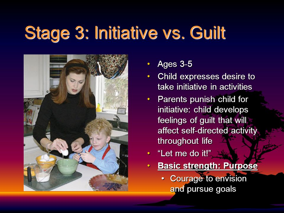Stage 3: Initiative vs. Guilt Ages 3-5Ages 3-5 Child expresses desire to take initiative in activitiesChild expresses desire to take initiative in act