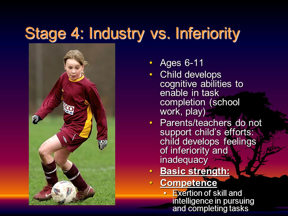 Stage 4: Industry vs. Inferiority Ages 6-11Ages 6-11 Child develops cognitive abilities to enable in task completion (school work, play)Child develops