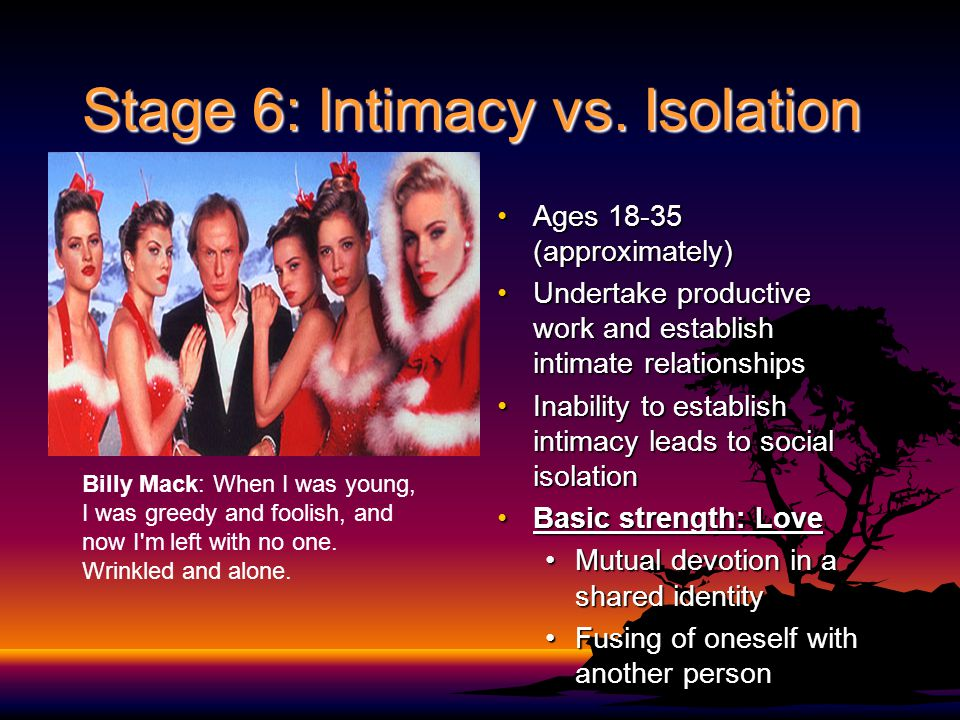 Stage 6: Intimacy vs. Isolation Ages 18-35 (approximately)Ages 18-35 (approximately) Undertake productive work and establish intimate relationshipsUnd