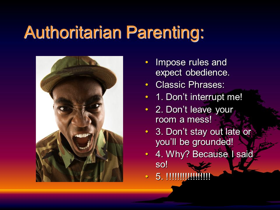 Authoritarian Parenting: Impose rules and expect obedience.Impose rules and expect obedience. Classic Phrases:Classic Phrases: 1. Don't interrupt me!1