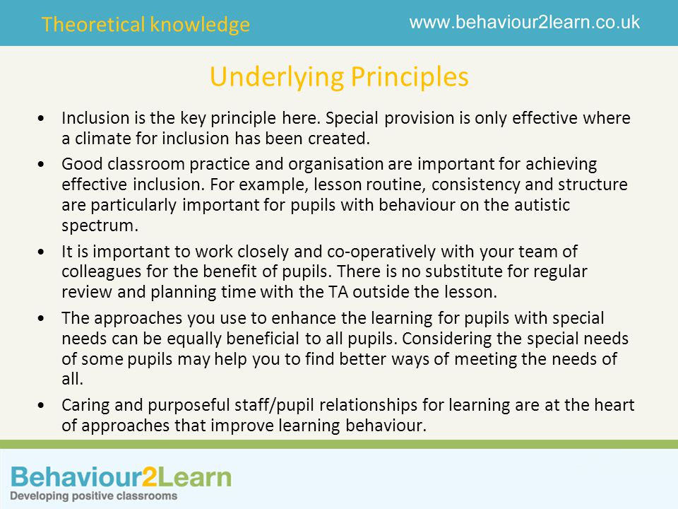 Theoretical knowledge Underlying Principles Inclusion is the key principle here.