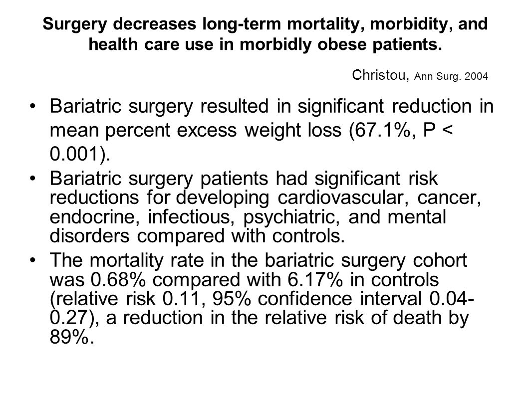 Surgery decreases long-term mortality, morbidity, and health care use in morbidly obese patients.