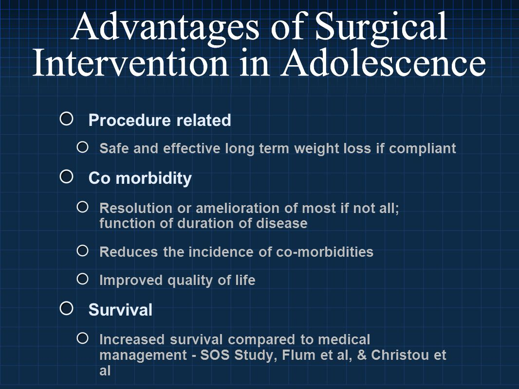 Advantages of Surgical Intervention in Adolescence Procedure related Safe and effective long term weight loss if compliant Co morbidity Resolution or amelioration of most if not all; function of duration of disease Reduces the incidence of co-morbidities Improved quality of life Survival Increased survival compared to medical management - SOS Study, Flum et al, & Christou et al