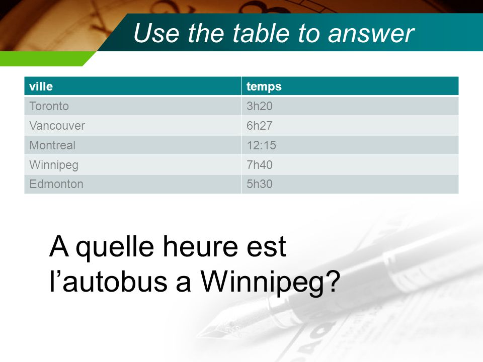 Use the table to answer villetemps Toronto3h20 Vancouver6h27 Montreal12:15 Winnipeg7h40 Edmonton5h30 A quelle heure est l'autobus a Vancouver?