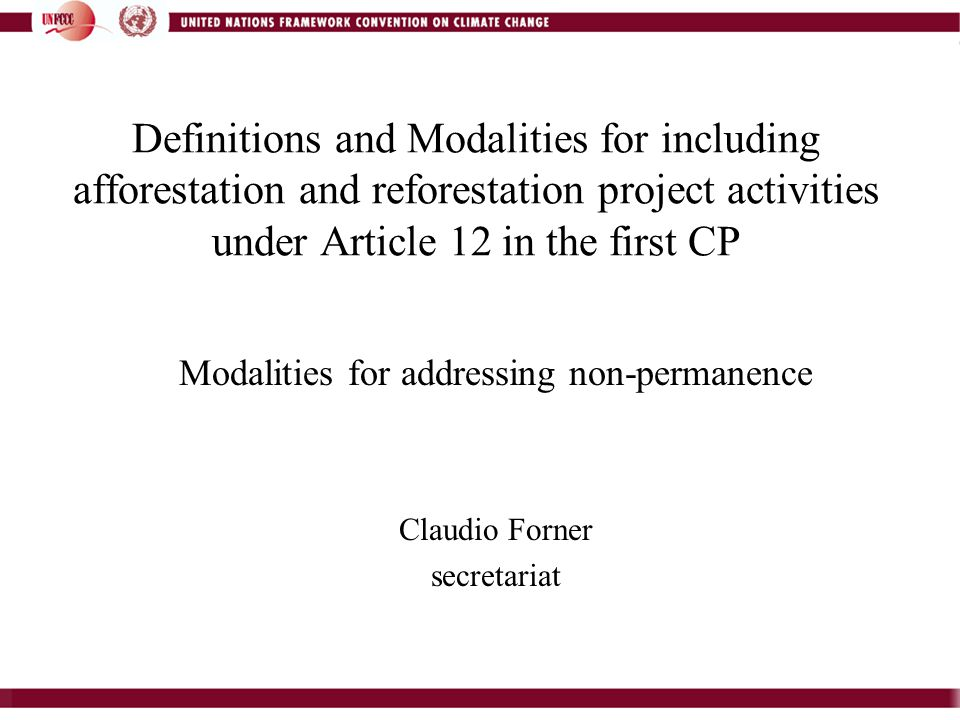 Definitions and Modalities for including afforestation and reforestation project activities under Article 12 in the first CP Modalities for addressing non-permanence Claudio Forner secretariat