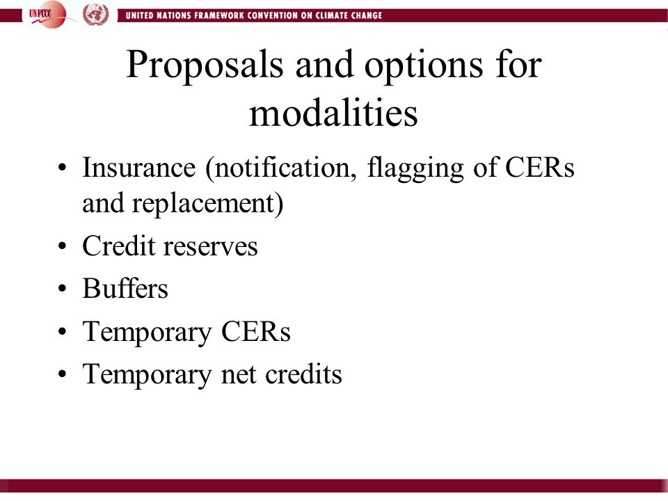 Proposals and options for modalities Insurance (notification, flagging of CERs and replacement) Credit reserves Buffers Temporary CERs Temporary net credits