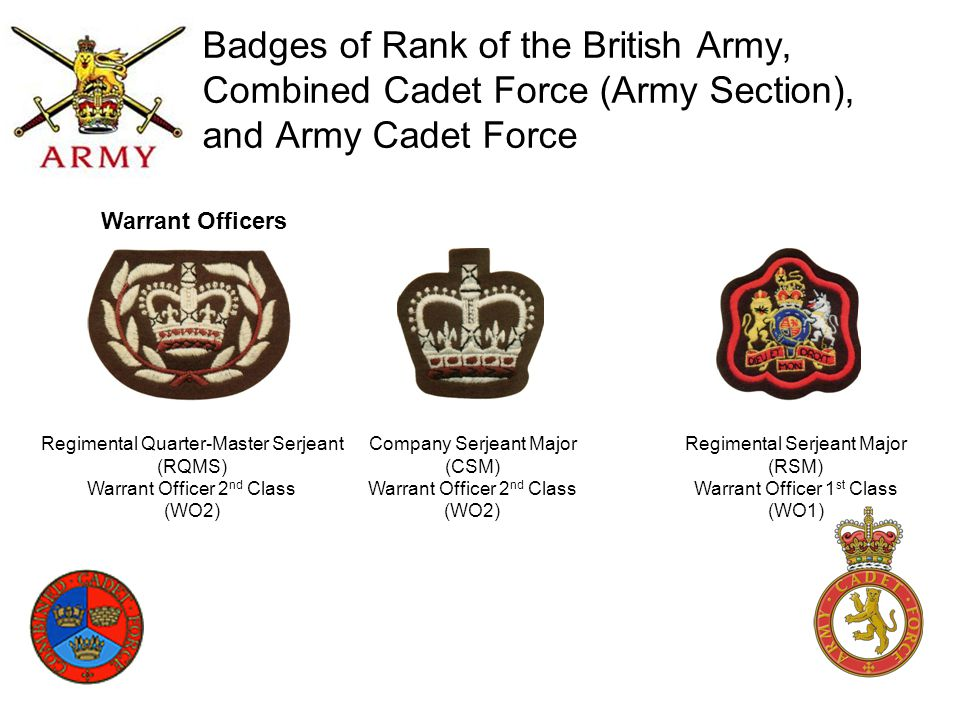 Badges of Rank of the British Army, Combined Cadet Force (Army Section), and Army Cadet Force Company Serjeant Major (CSM) Warrant Officer 2 nd Class