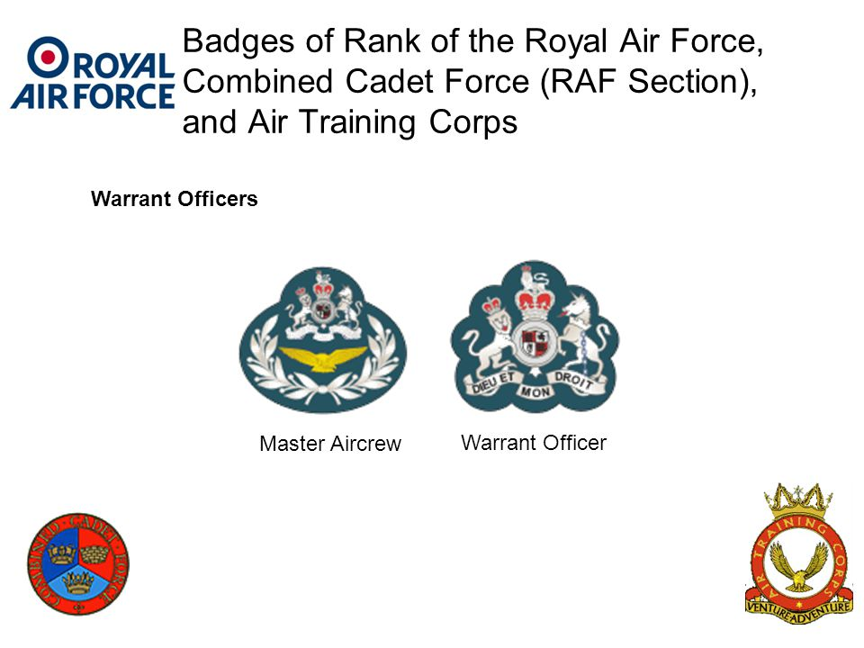 Badges of Rank of the Royal Air Force, Combined Cadet Force (RAF Section), and Air Training Corps Warrant Officer Master Aircrew Warrant Officers
