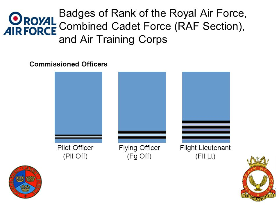 Badges of Rank of the Royal Air Force, Combined Cadet Force (RAF Section), and Air Training Corps Pilot Officer (Plt Off) Flying Officer (Fg Off) Flig